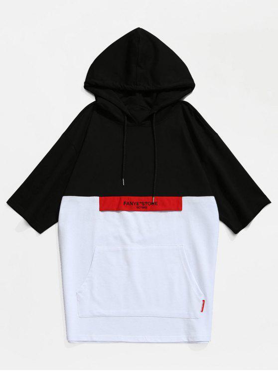 T-Shirt Con Cappuccio E Tasca A Canguro A Tinta Unita - Nero XL