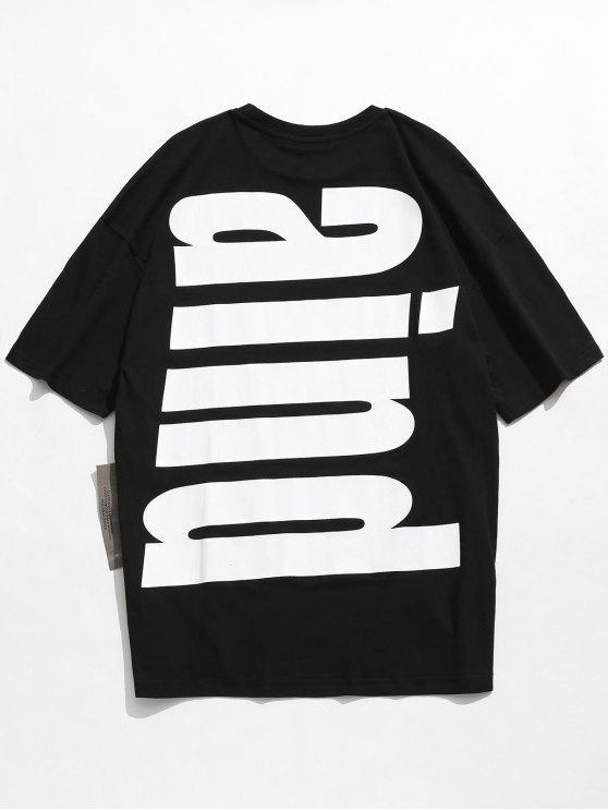 women Drop Shoulder Printed Cotton T-shirt - BLACK XL