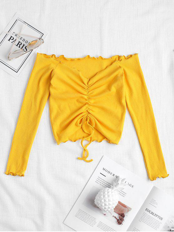 lady Gathered Off Shoulder Top - BRIGHT YELLOW M