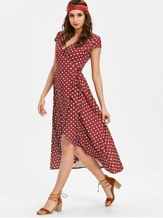 unique Polka Dot Plunge Wrap Dress - RED WINE M