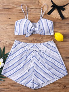 Striped Front Tie Crop Top And Shorts Set - Light Blue L