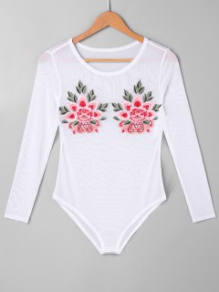 Floral Embroidered Mesh Bodysuit - White L