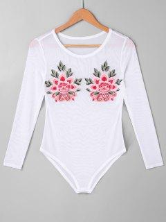 Blumen Bestickter Maschen Bodysuit - Weiß Xl