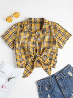 Plaid Tied Cropped Top - Bright Yellow S