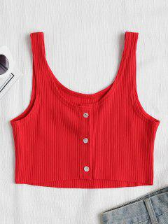 Button Up Ribbed Tank Top - Red S