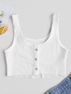Button Up Ribbed Tank Top - White M