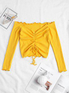 Gathered Off Shoulder Top - Bright Yellow S