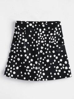 Polka Dot Mini Skirt With Pockets - Black L