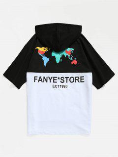 Color Block Kangaroo Pocket Hooded T-shirt - Black M