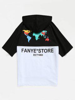 Color Block Kängurutasche Mit Kapuze T-Shirt - Schwarz 2xl