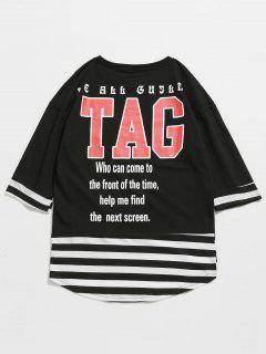 Camiseta A Rayas Con Estampado De Letras - Negro 2xl