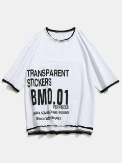 Buchstabe-Muster Rohes Hem-T-Shirt - Weiß 2xl