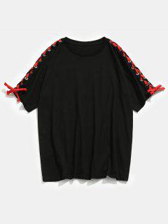 Letter Print Lace-up Tee - Black L