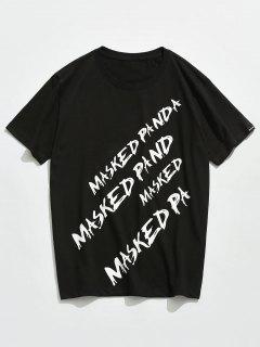 Letter Printed Short Sleeves T-shirt - Black L