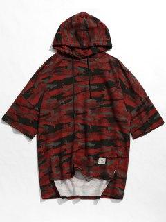 Hooded Camo Slit Drop Shoulder Tee - Red L