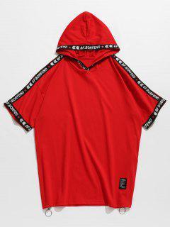 Camiseta Con Diseño De Carta Con Capucha Y Cremallera Lateral - Rojo 2xl