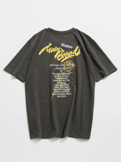 Kurzarm-T-Shirt Aus Baumwolle Mit Buchstaben-Print - Dunkles Schiefergrau Xl