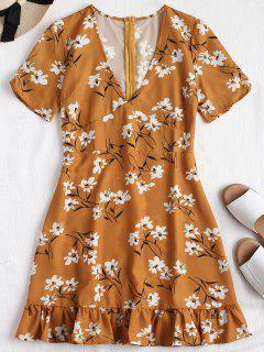 Mini Vestido De Volantes Con Cremallera Espalda Floral - Amarillo De Autobús Escolar L