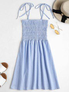 Tie Straps Striped Shirred Mini Dress - Sea Blue L