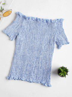 Streifen Smocked Schulterfrei Top - Meerblau Xl