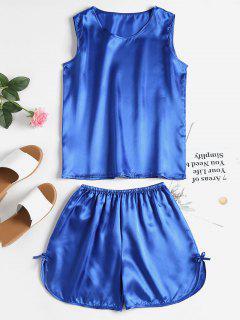 Comfy Satin Sleepwear Set - Steel Blue L