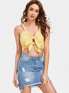 Knotted Gingham Tank Top - Bee Yellow S