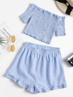 Smocked Off Shoulder Top And Shorts Set - Sea Blue M