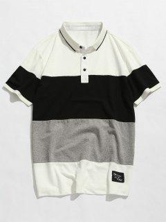 Colorblock Short Sleeve Polo T-shirt - White 4xl
