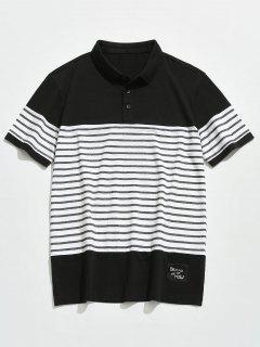 Striped Short Sleeves Polo Tee - Black 3xl