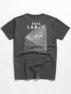 Marled Printed Embroidery Tee - Gray 4xl