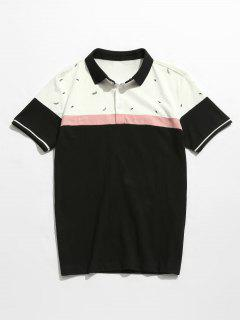 Color Block Print Cotton Polo Tee - Black 3xl