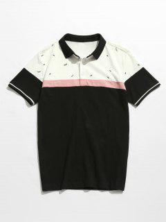 Color Block Print Cotton Polo Tee - Black 4xl