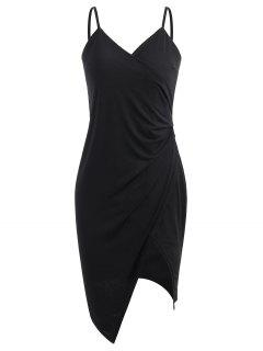 Spaghetti Strap Ruched Asymmetric Bodycon Dress - Black S