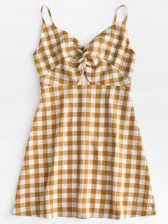 Twisted Plaid Cami Dress - Orange Gold S