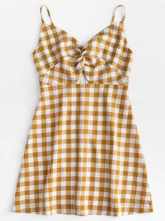 Twisted Plaid Cami Dress - Orange Gold L