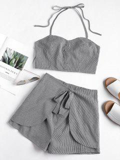 Gingham Smocked Halter Top And Shorts Set - Black L