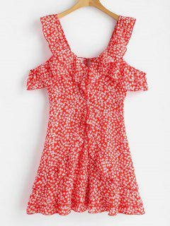 Floral Print Ruffles Backless Dress - Red M