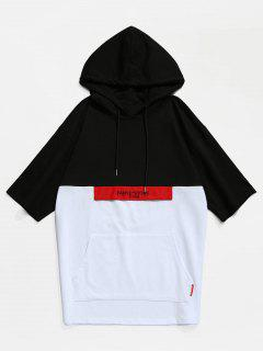 Color Block Kangaroo Pocket Hooded T-shirt - Black L