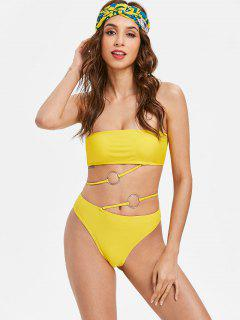 Multiway Wear Bandeau Bikini Set - Yellow S