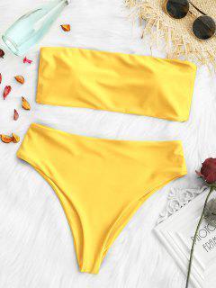 Padded High Cut Bandeau Bikini Set - Bright Yellow L