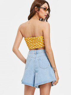 Smocked Back Tie Front Tube Top - Bright Yellow S