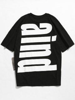 Drop Shoulder Printed Cotton T-shirt - Black L