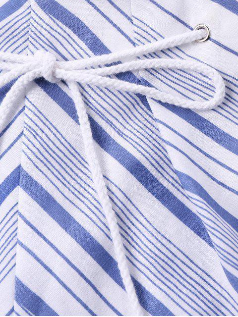 Ensemble Crop Top Rayé à Noeud et Short - Bleu Léger  XL Mobile