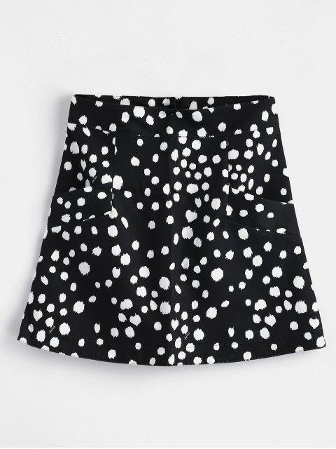 sale Polka Dot Mini Skirt with Pockets - BLACK S Mobile