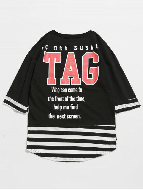Camiseta a rayas con estampado de letras - Negro M Mobile