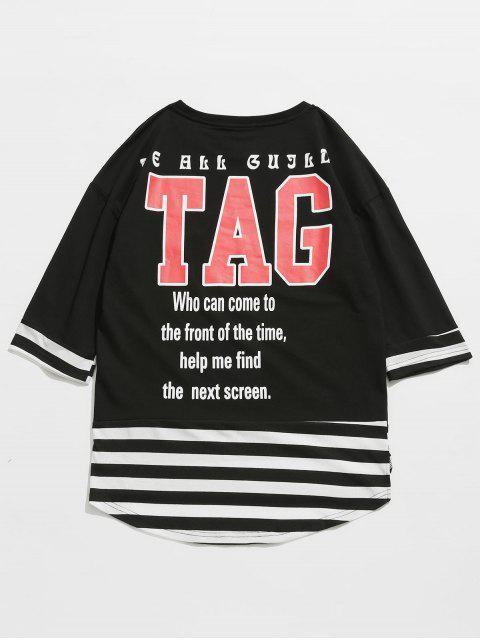 women Striped Letter Pattern T-shirt - BLACK 2XL Mobile