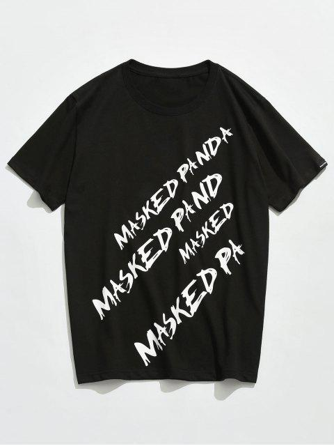 new Letter Printed Short Sleeves T-shirt - BLACK 2XL Mobile