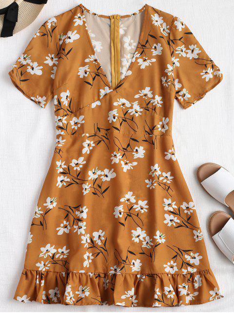 fashion Floral Back Zipper Ruffles Mini Dress - SCHOOL BUS YELLOW S Mobile