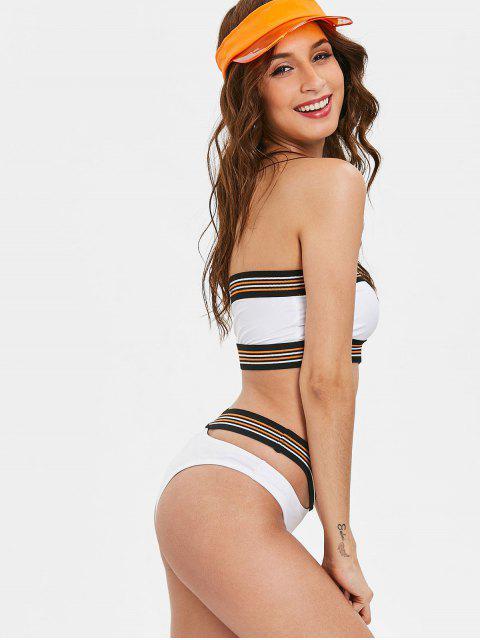 lady High Cut Striped Bandeau Bikini Set - WHITE XL Mobile