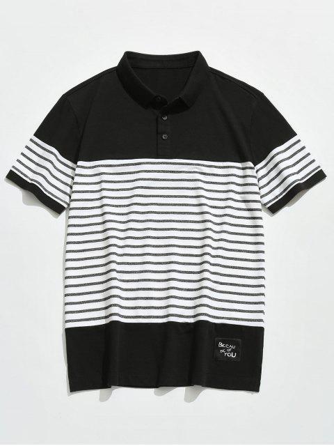 Tee-shirt rayé à manches courtes pour hommes - Noir 4XL Mobile
